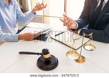 Legal Counsel Presents To The Client Negotiating A Contract Serious Consultations, Concepts Of Law A