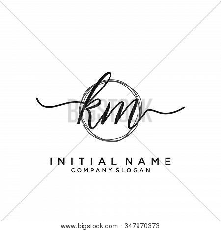 Km Initial Handwriting Logo With Circle Template Vector.