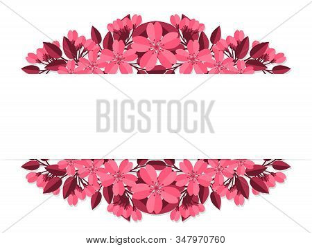Spring Flowers In The Paper Art Style Of Sakura Or Cherry Blossom Frame With Your Copy Space On Whit