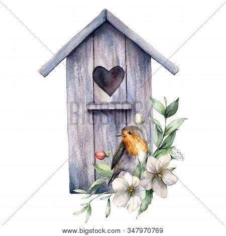 Watercolor Card With Bird House, Robin And Anemones. Spring Illustration With A Flowers And A Bird I