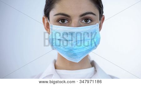 Nurse In Surgical Mask Close-up, Epidemic Prevention, Awareness Of Disease