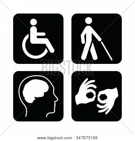 Black Square Set Of Disability Icons. Disabled Icon Set. Mental, Physical, Sensory, Intellectual Dis