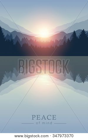 Beautiful Sunrise By Peaceful Lake On Mountain Nature Landscape Vector Illustration Eps10