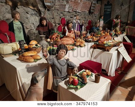 Visegrad, Hungary - May 15, 2018: Royal Banquet From Xiv Century Historical Scene From Hungary With