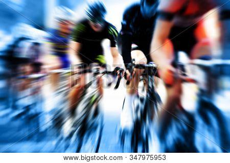 Motion blur racing cycle race