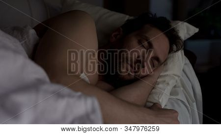 Bearded Man In His 40s Sleeping In Bed, Exhausting Day, Sound Sleep And Rest