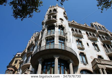 Barcelona, Spain. Landmark Architecture In Eixample District - Casa Fuster By Lluis Domenech I Monta