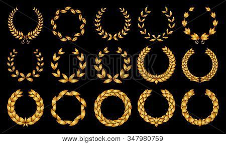 Collection Of Different Golden Silhouette Circular Laurel Foliate, Wheat And Oak Wreaths Depicting A