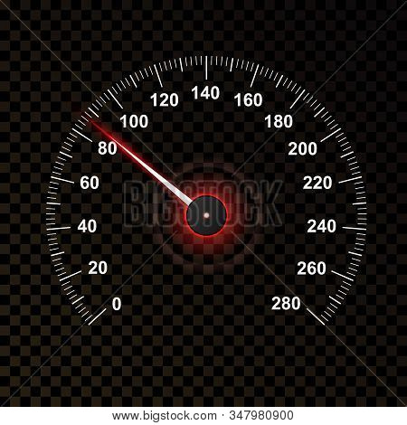 Car Speedometer Isolated On Transparent Dark Background. Car Odometer Or Tachometer With Speed Level