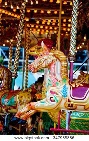 Painted horse on carousel ride
