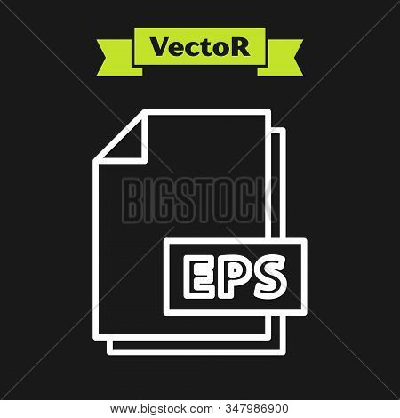 White Line Eps File Document. Download Eps Button Icon Isolated On Black Background. Eps File Symbol
