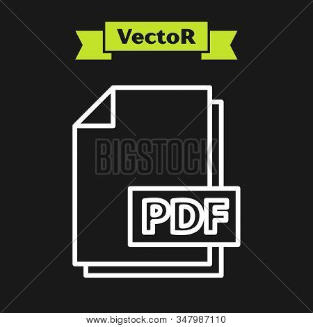 White Line Pdf File Document. Download Pdf Button Icon Isolated On Black Background. Pdf File Symbol