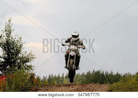 Dirty Motorcycle Rider Riding On Trail Motocross Enduro