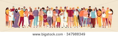 Large Multiracial Group Of People Of Different Cultures And Ages. Happy Men And Women, Youth And Chi