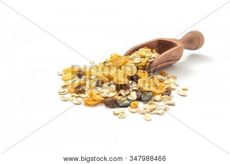 Healthy food concept -Muesli in scoop on white background