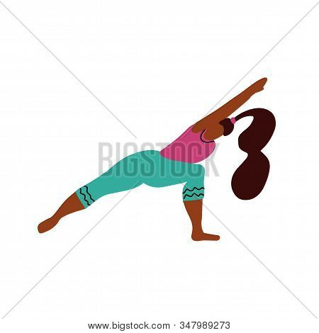 Young Woman Stand On Two Legs In A Yoga Pose And Meditates. Yoga Girl In Fitness Position. Cute Brig