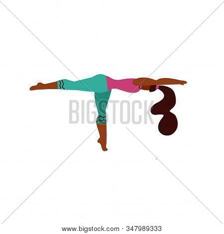 Young Woman Stand On One Leg In A Yoga Pose And Meditates. Yoga Girl In Fitness Position. Cute Brigh