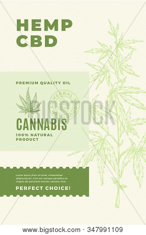 Hemp Cbd Premium Oil Abstract Vector Design Label. Modern Typography And Hand Drawn Cannabis Leaf An