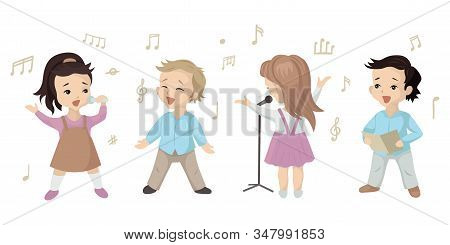 Children Sing A Song, A Set Of Characters In A Music Lesson Or Choir. Vector Illustration On White B