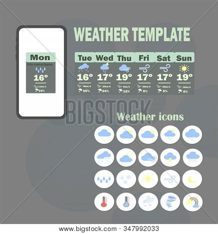 Weather Template App. Vector Template - Weekly Weather Forecast For Mobile Application. Weather Fore