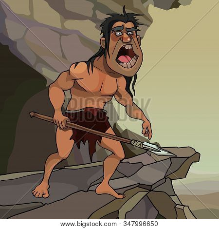 Cartoon Neanderthal Man With A Spear Screaming Standing On Stone Cliff