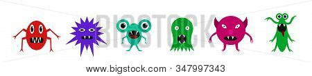 Cute Monsters. Cute Funny Cartoon Monsters, Mutants And Bacterias