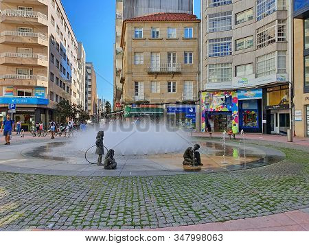 Pontevedra, Spain - September 12, 2019: Summer Fountain In City Square In Old Center Of Pontevedra
