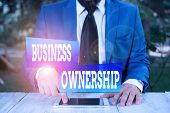 Word writing text Business Ownership. Business concept for control or to dictate the operations and functions Businessman in blue suite with a tie holds lap top in hands. poster