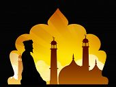 Silhouette of a Muslim man reading Namaz in Mosque or Masjid. EPS 10. poster