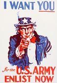 Uncle Sam enlistment poster world war I vintage poster