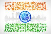 illustration of hand print of Indian tricolor with monument poster
