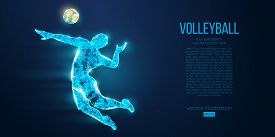 Abstract Silhouette Of Volleyball Player Man, Male With Volleyball Ball. All Elements On A Separate