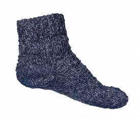 Woolen Blue Socks Isolated On A White Background. Winter Accessories