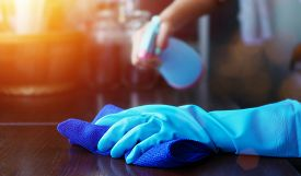 Hand In Blue Rubber Glove Holding Blue Microfiber Cleaning Cloth And Spray Bottle With Sterilizing S