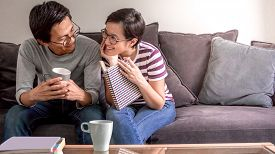 Couple And Love Concept - Young Asian Couple In Love And Happiness Feeling At Home On Valentines Day