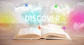 Open book with DISCOVER inscription, vacation concept