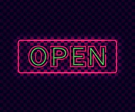 Neon Open. Violet Neon Open Sign On Transparent Background. Glowing Laser Banner. Design Signboard T
