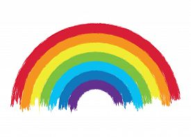 Vector Colorful Rainbow Arc Illustration, Grunge Painted Design Of Rainbow Colors On White Backgroun
