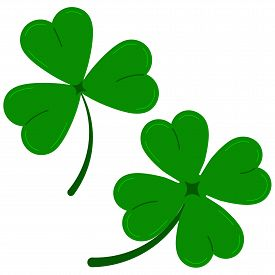 Clover Leaves Icon Set Isolated On White Background Green Lucky Four Leaf Clover And Shamrock Clover