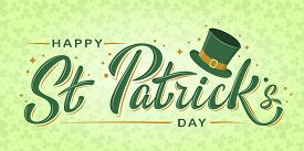 Happy St. Patrick's Day Lettering Text With Shamrock On Light Background