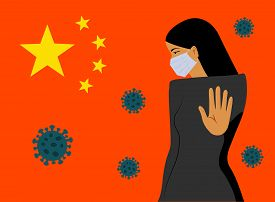 Coronavirus in China. Woman in white medical face mask. MERS-Cov middle East respiratory syndrome coronavirus , Novel coronavirus 2019-nCoV Concept of coronavirus quarantine. Coronavirus in China. Woman in white medical face mask.