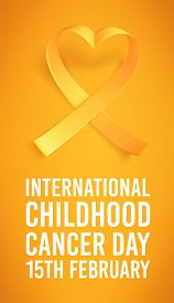 International Childhood Cancer Symbol On 15th Of February, Vector Illustration. Background With Real