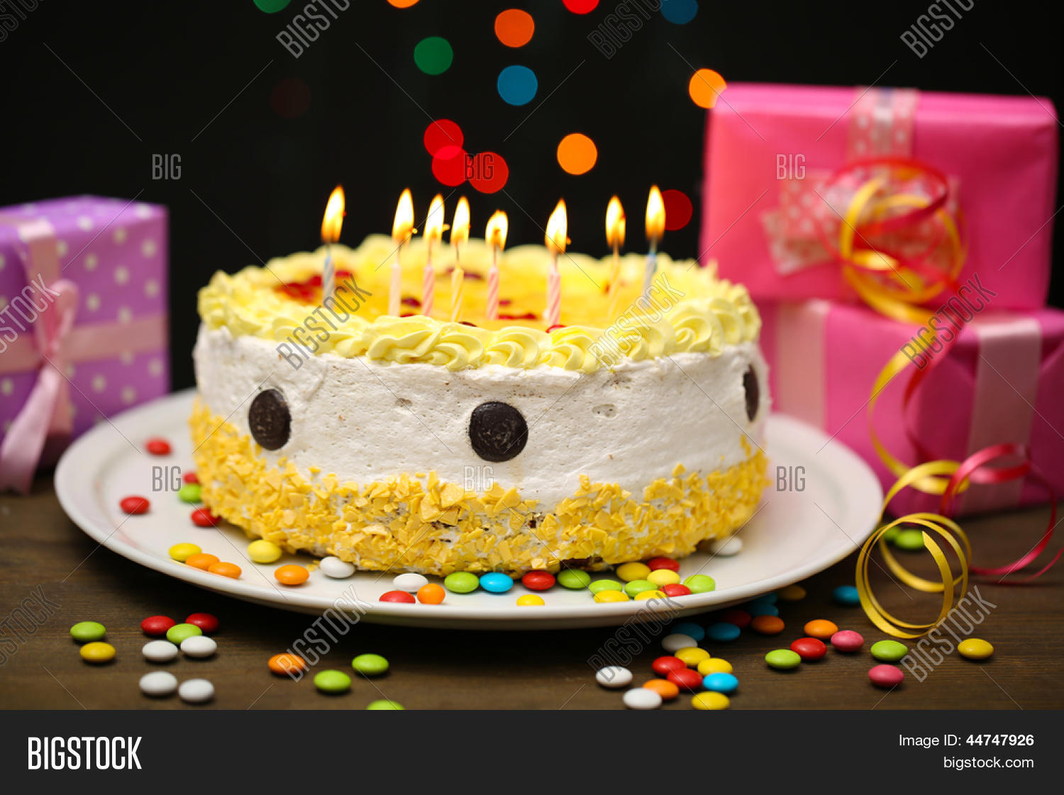 Birthday Cakes Gifts Images ~ Happy birthday cake gifts on black image photo bigstock
