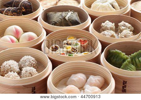 Yumcha, Dim-Sum in Bambus Dampfer, chinesische Küche