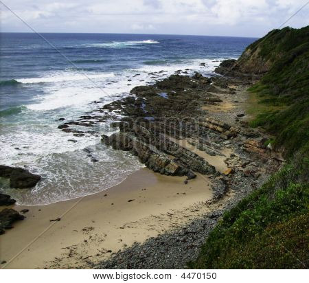 Beach With Unusual Rock Formations At Crescent Head Nsw Australia