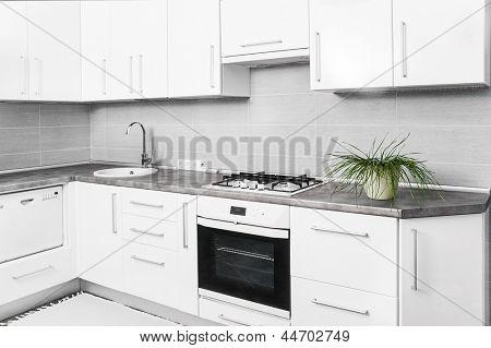 interior of small white kitchen