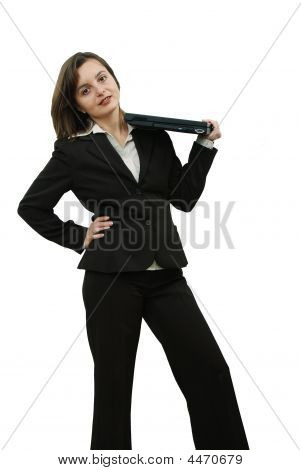 Business Woman With Portable Computer On Her Shoulder