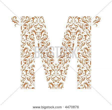 Floral letter M isolated on the white background poster
