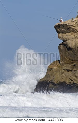 Fisherman On Clifftop