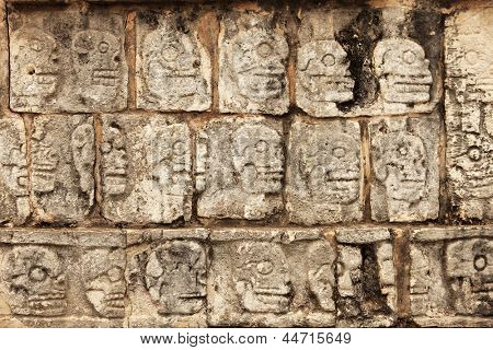 A picture of Mayan stone skulls in Chitchen-Itza